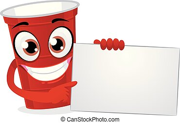 Red Plastic Beer Pong Cup Holding a White Blank Board