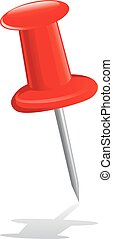 Red Pushpin - Vector Illustration of Red Pushpin