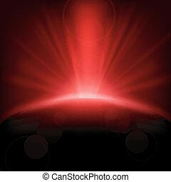 Vector Illustration Of Red rays rising background