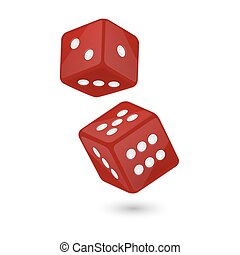 Vector illustration of red realistic game dice icon in flight closeup isolated on white background. Casino gambling design template for app, web, infographics, advertising, mock up etc