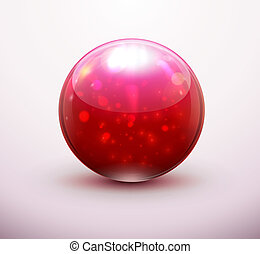 Vector illustration of red refracting Glass marbles/button sphere