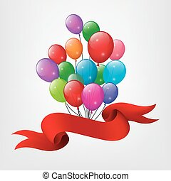 Red ribbon flying with balloons