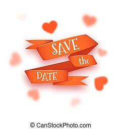 Vector illustration of red ribbon with Save The Date title