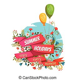 Vector illustration of red ribbon with Summer Holidays title