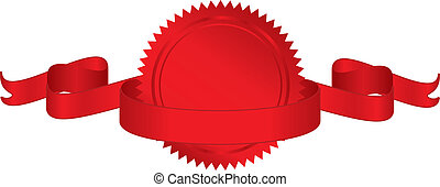 seal with ribbon - Vector illustration of red seal with...