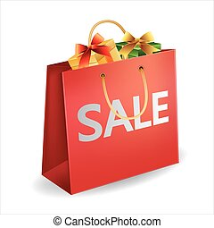 vector illustration of red shopping bag with gift box
