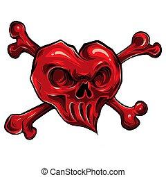 vector illustration of red skull hearth on white background