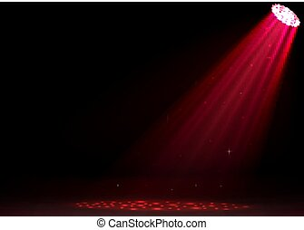 Red spotlights on dark background