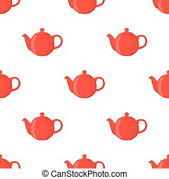 Vector illustration of red teapot, seamless pattern. Cartoon flat style