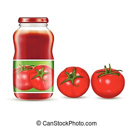 Vector illustration of red tomatoes and jars with tomato...