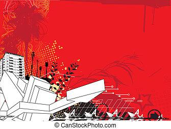 red urban background