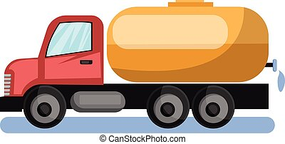 Vector illustration of red water tanker truck with yellow cistern white background.
