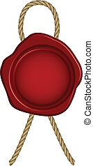 Vector illustration of red wax seal