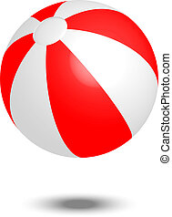 red & white beach ball - Vector illustration of red & white...