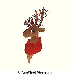 Vector illustration of reindeer head with red knitted scarf and christmas lights on antlers.
