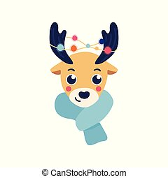 Vector illustration of reindeer head with warm knitted scarf and christmas lights on antlers.
