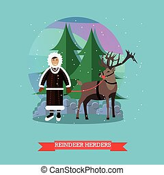 Vector illustration of reindeer herder in flat style
