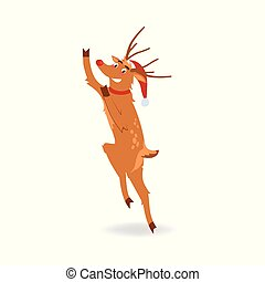 Vector illustration of reindeer with red nose in Santa Claus hat jumping with happiness.