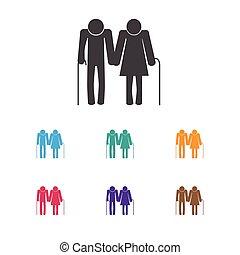 Vector Illustration Of Relatives Symbol On Senior People...