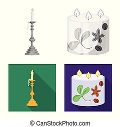 Vector illustration of relaxation and flame sign. Set of relaxation and wax stock vector illustration.