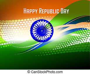 Vector illustration of  Republic Day and Independence Day in smooth wave with halftone.