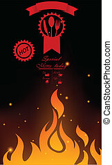 Restaurant menu design with flame