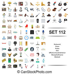 Vector illustration of restaurant, prison, pirate, park,...
