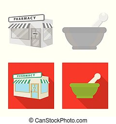 Vector illustration of retail and healthcare icon. Set of retail and wellness stock symbol for web.