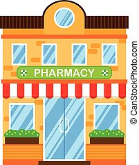 Vector illustration of retro building with pharmacy. Fa?ade...