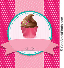 Vector Illustration of retro cupcake on striped background