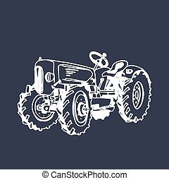 Vector illustration of retro farm tractor in hand sketched style. Organic bio products poster. Eco food sign.