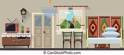 Vector illustration of retro interior in flat style