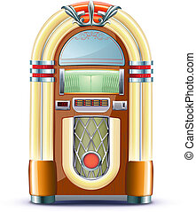 Vector illustration of retro style detailed classic juke box.
