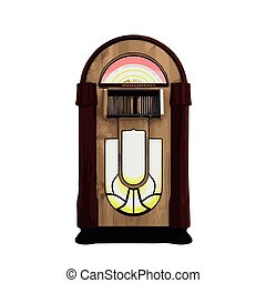 Vector illustration of retro style detailed classic juke box