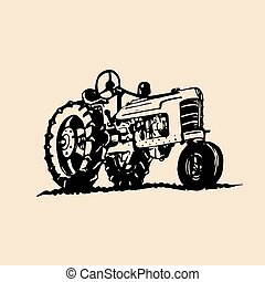 Vector illustration of retro tractor in hand sketched style. Farm fresh logotype. Bio products emblem. Eco food sign.