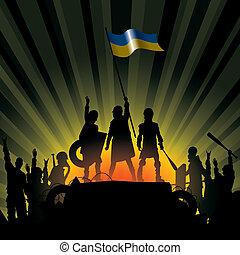 Vector illustration silhouettes of revolution people in Ukraine