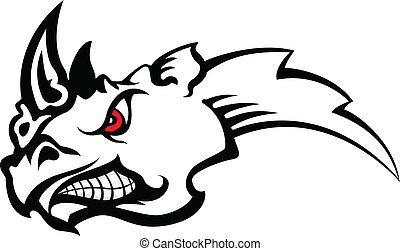vector illustration of rhinoceros tattoo tribal