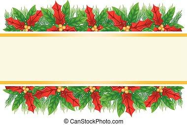 Ribbon Poinsettia Background For Christmas