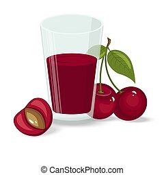 Vector illustration of ripe cherries on a white background. Berries with stems and green leaves.