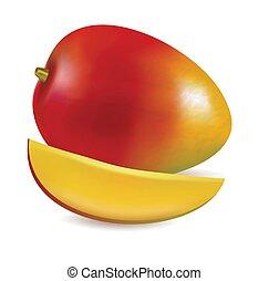 Vector illustration of Ripe fresh mango with slice