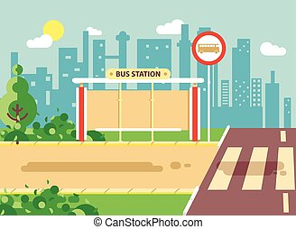 Vector illustration of roadside cartoon landscape with roadway, road, sidewalk and empty bus stop for school in flat style on city background element for motion design, banner, web site