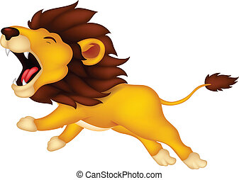roaring cartoon Lion - vector illustration of roaring...