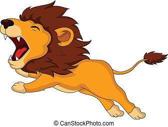 roaring cartoon Lion - vector illustration of roaring...