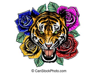 vector illustration of roaring tiger head and roses tattoo