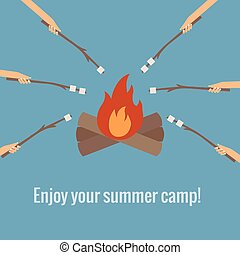 roasting marshmallows on fire camping - Vector illustration ...