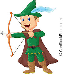 Vector illustration of Robin hood cartoon