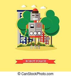 Vector illustration of robot police, flat design