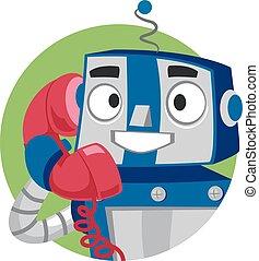 Robot talking on Phone