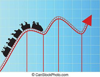 Roller coaster graph - Vector illustration of Roller coaster...