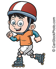 Roller Skating - Vector illustration of Roller Skating Boy